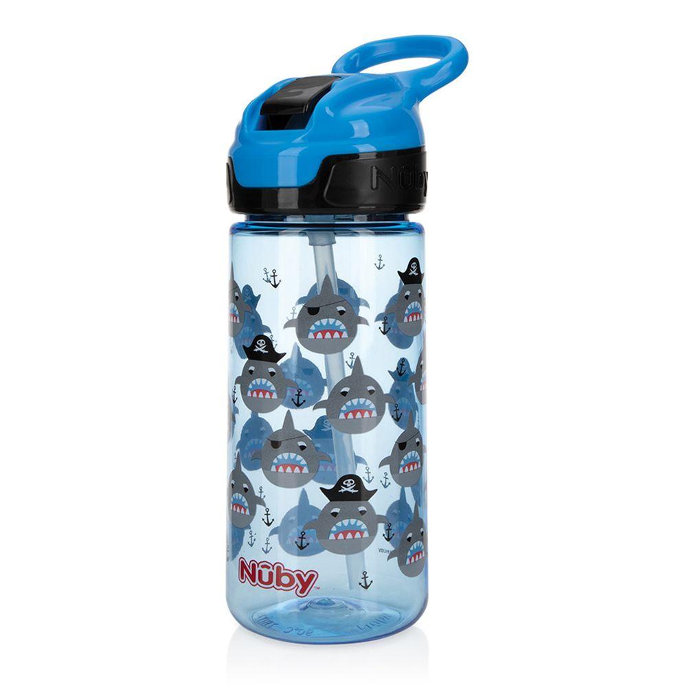 Nuby - 晶透運動水杯鴨嘴(18M+)兒童水壺-藍色鯊魚-532ml