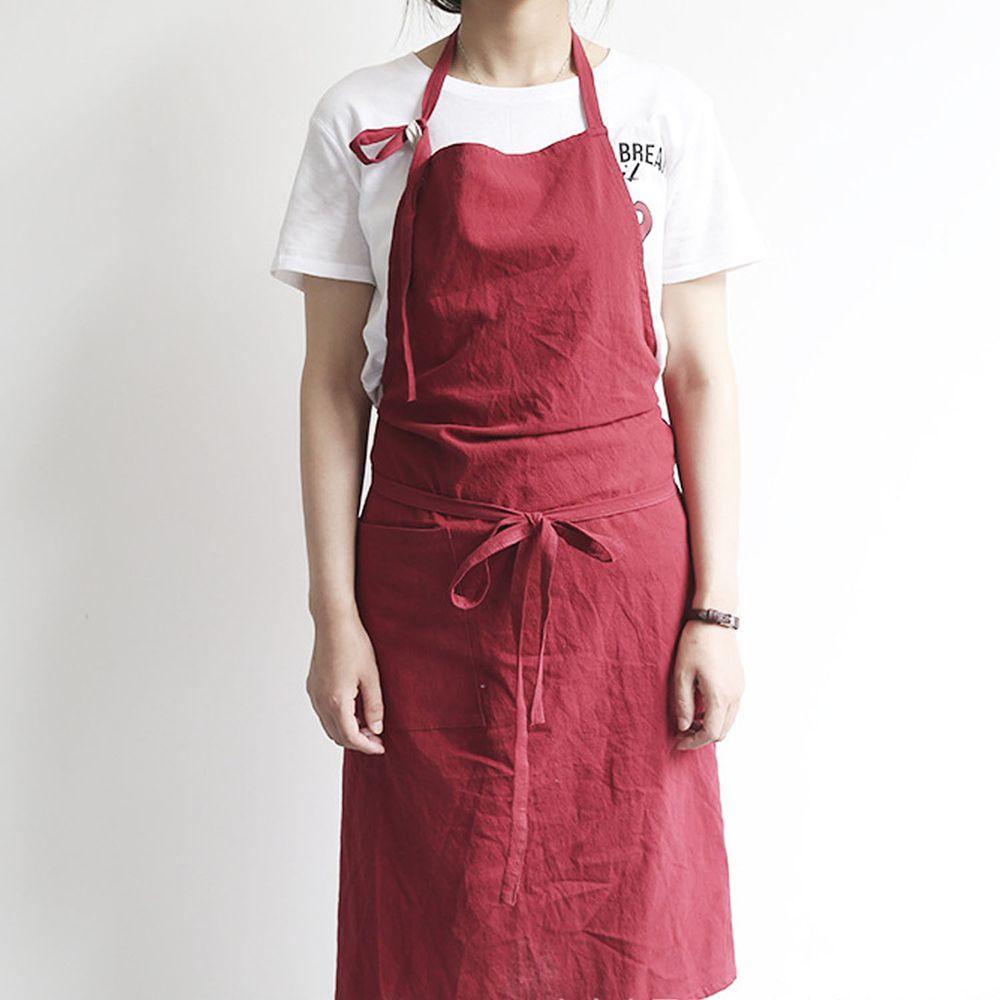 率性扣帶水洗棉麻圍裙-酒紅色