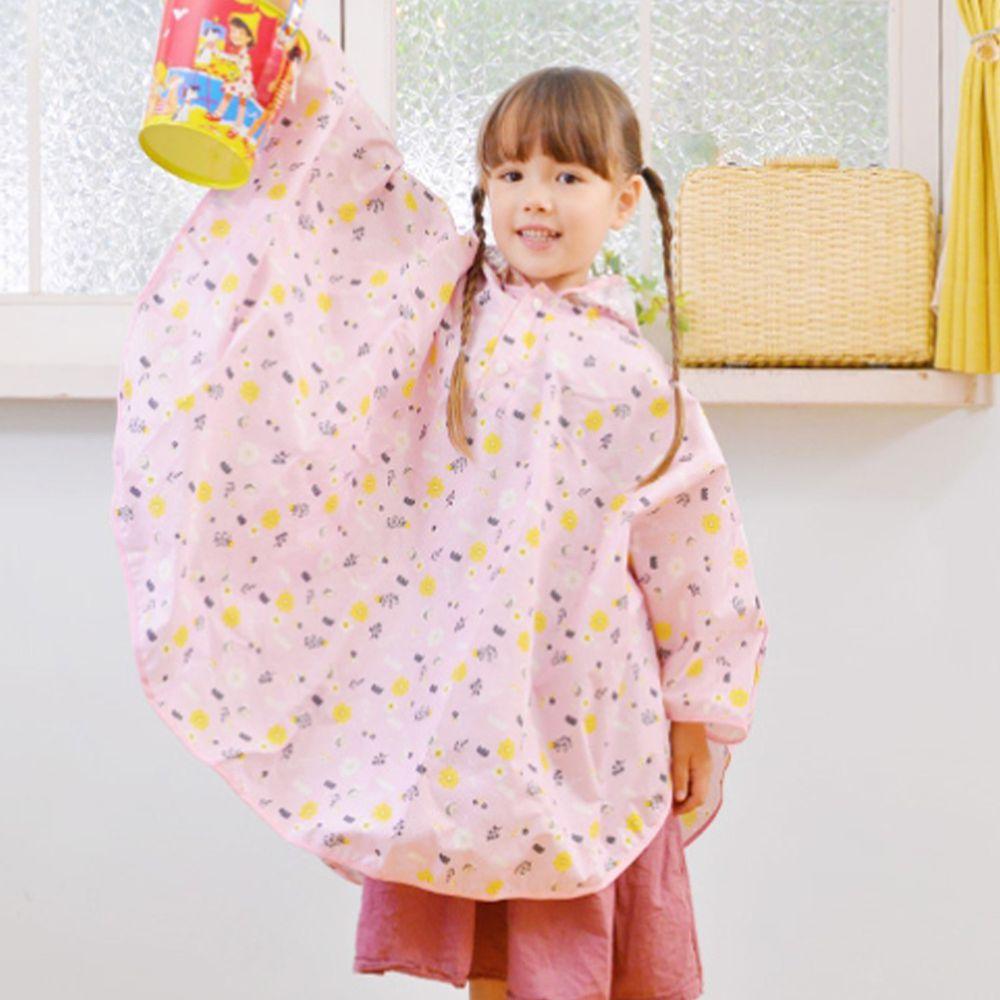 日本 akachan to issyo - 日本製防水斗篷雨衣-粉紅蜜蜂-粉-附收納袋