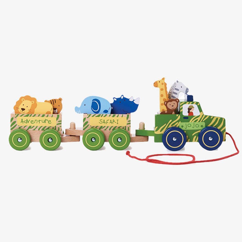 英國 JoJo Maman BeBe - 益智/五感玩具_實木系列-手拉野生動物走走