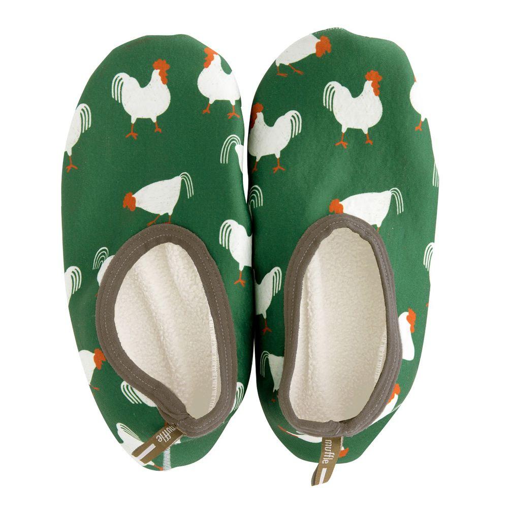 日本 BISQUE - 室內止滑保暖襪-公雞-綠 (M(23-24.5cm))