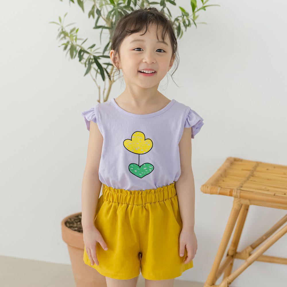 韓國 Orange Mom - 一朵鬱金香套裝-紫上衣X黃褲