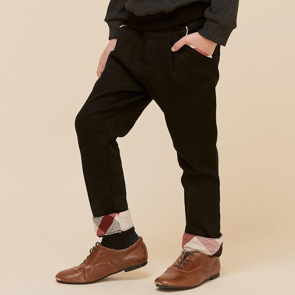 韓國 Coco Bang - 英倫格紋反褶長褲-黑