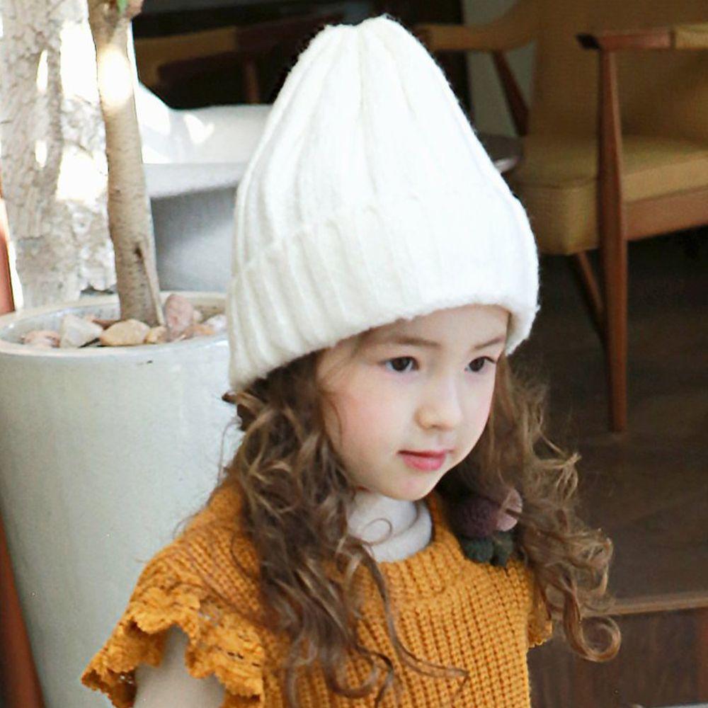 韓國 PuellaFLO - 直紋針織毛帽-象牙白