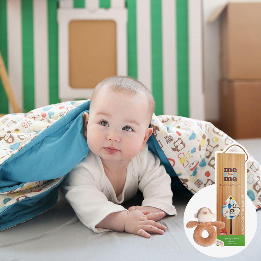以色列 mezoome - 有機棉精品床寢-寶寶禮物組-土耳其藍-四季被+布布小猴手搖鈴