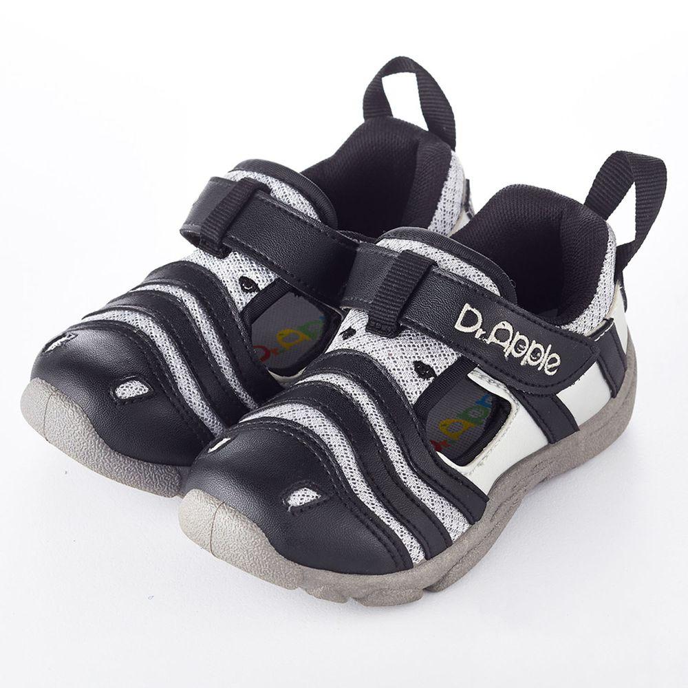Dr. Apple - 機能童鞋-淘氣繽紛斑馬休閒涼鞋-黑