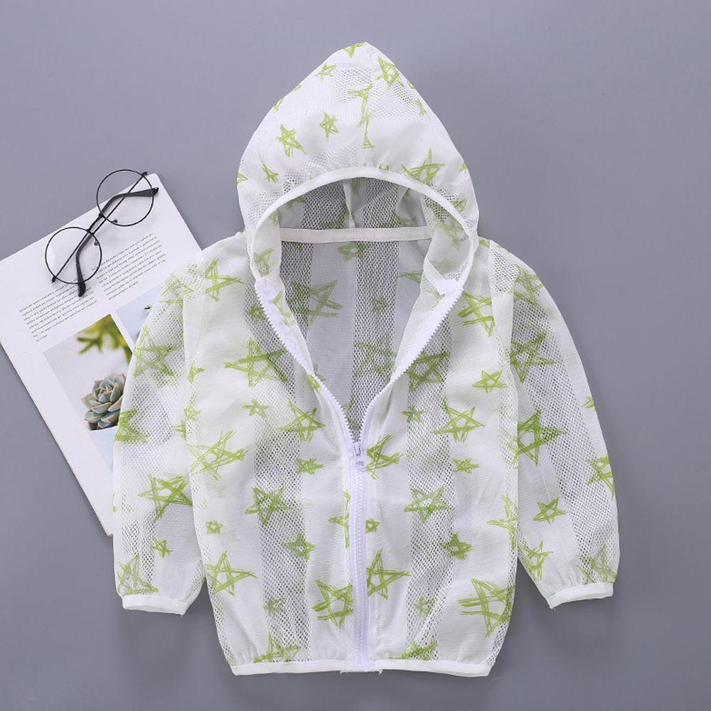 輕薄透氣防曬外套-檸綠五角星