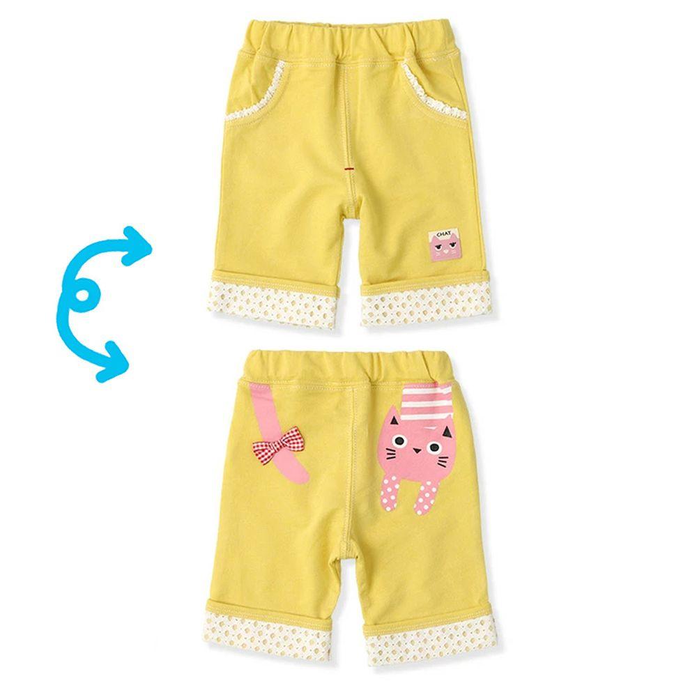 日本 ZOOLAND - 純棉印花五分褲-小粉貓-黃