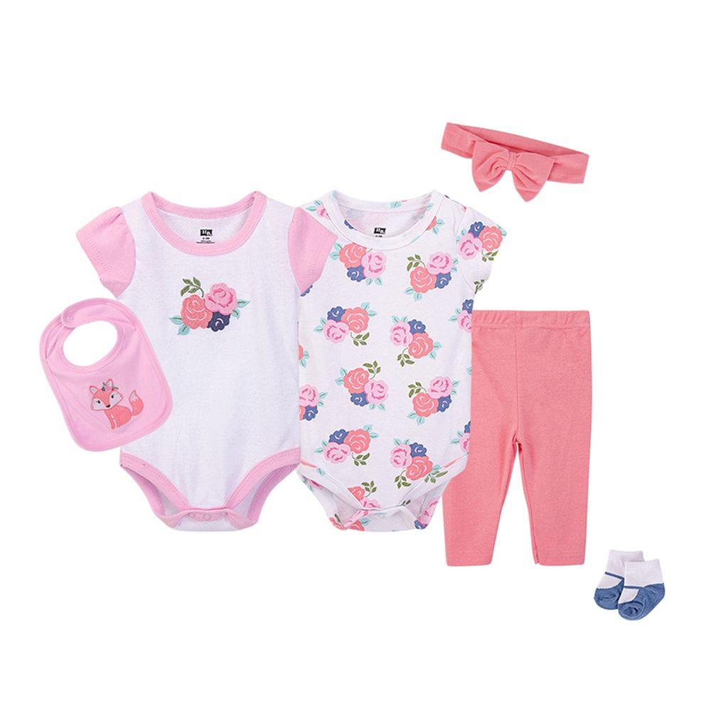 美國 Luvable Friends - 嬰幼兒包屁衣與長褲6件組-甜美玫瑰
