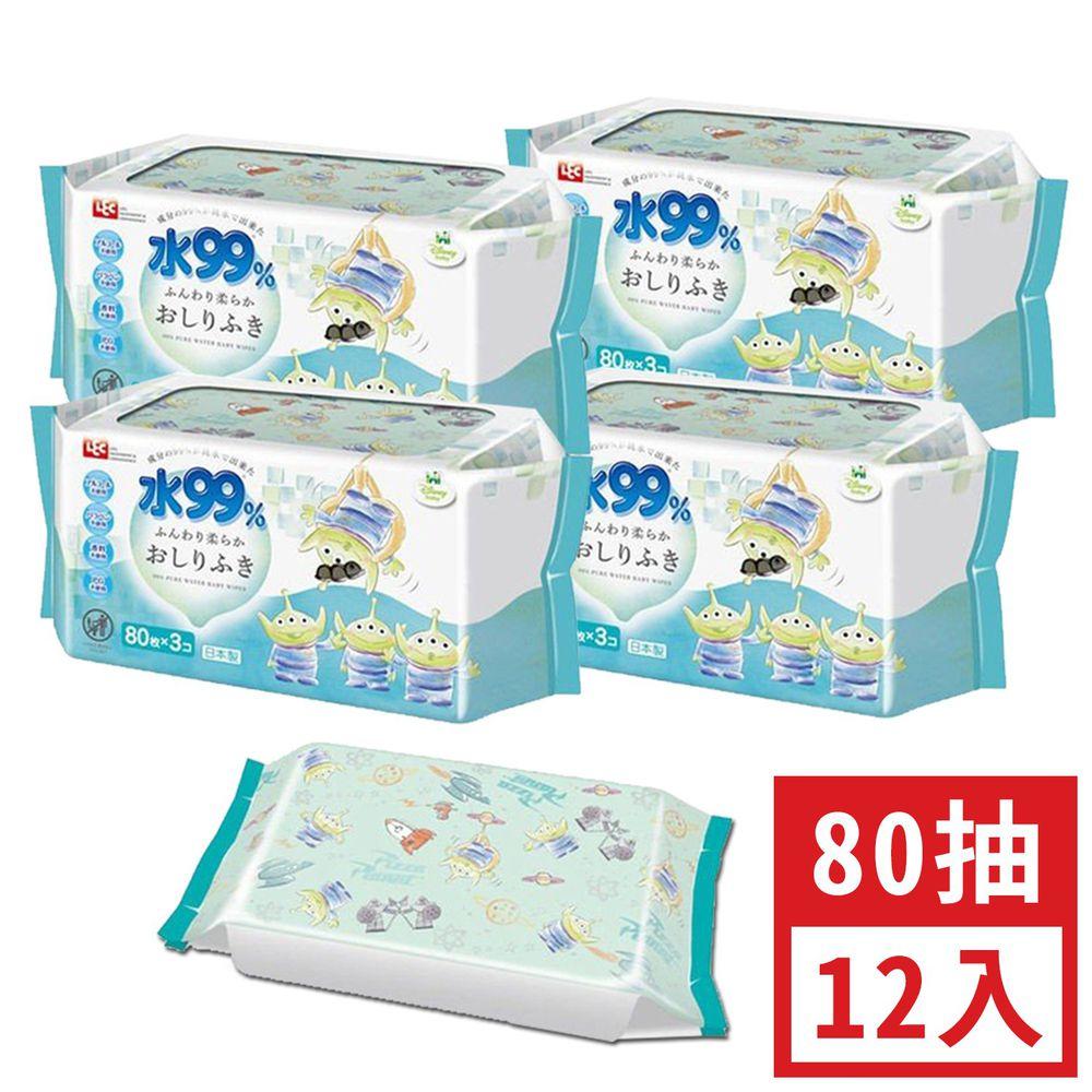 日本 LEC - 純水99%一般型擦屁屁濕紙巾-新款迪士尼-三眼怪-12包入箱購組-80抽x12包入