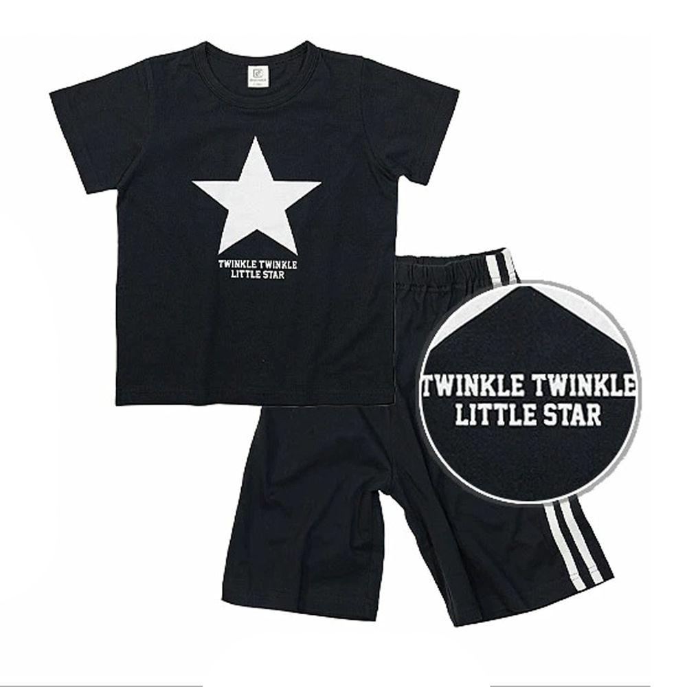 日本 devirock - 純棉短袖家居服-美式星星-黑