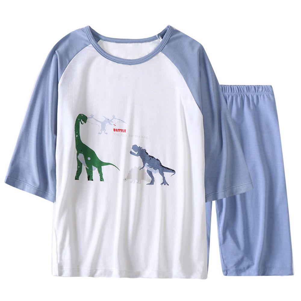 莫代爾七分袖套裝/家居服-恐龍公園-霧藍色