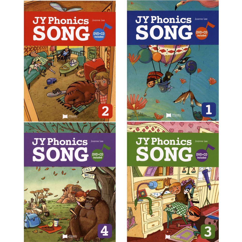 JY Books - 【全套】JY PHONICS SONG #1~4/BK-書+DVD+CD