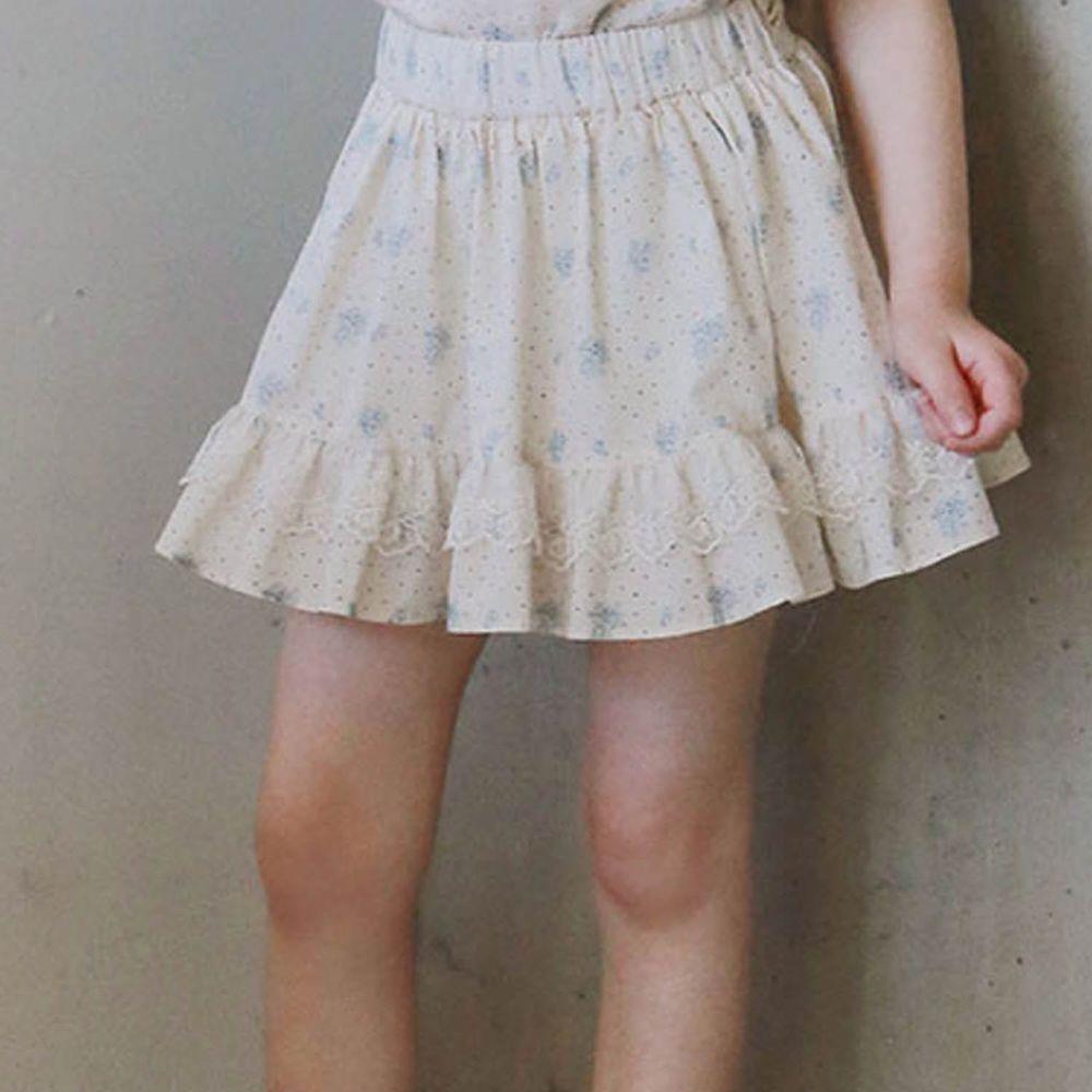 韓國 PuellaFLO - 蕾絲裝飾點點花朵褲裙-淺藍花