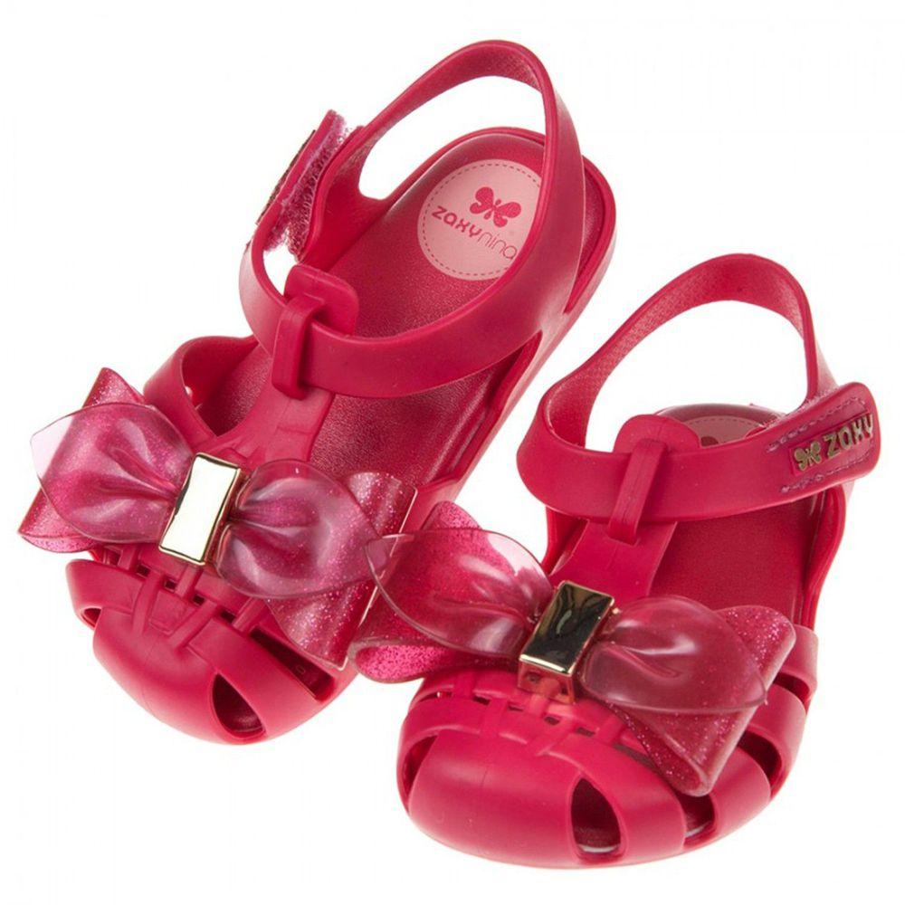ZAXY - 童趣金蔥大蝴蝶結紅色寶寶公主涼鞋