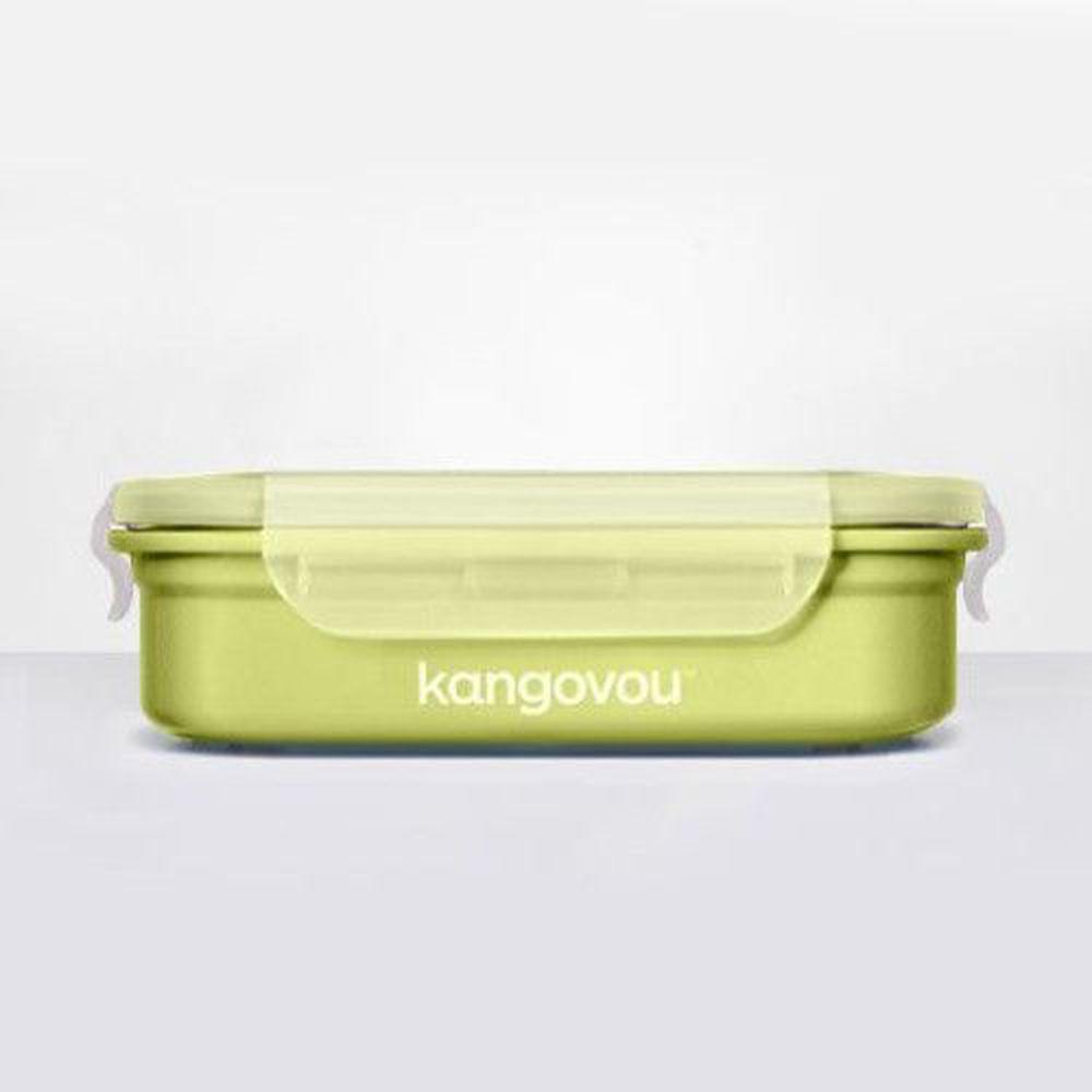 美國 Kangovou - 不鏽鋼安全兒童餐具-餐盒-青蘋綠 (19*14.5*5(長*寬*高))