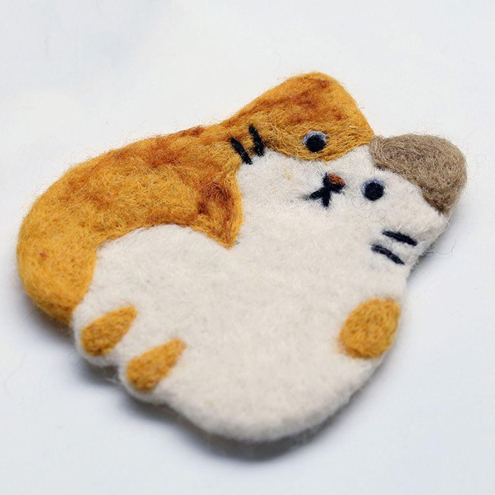 可愛動物造型羊毛氈杯墊-小花貓