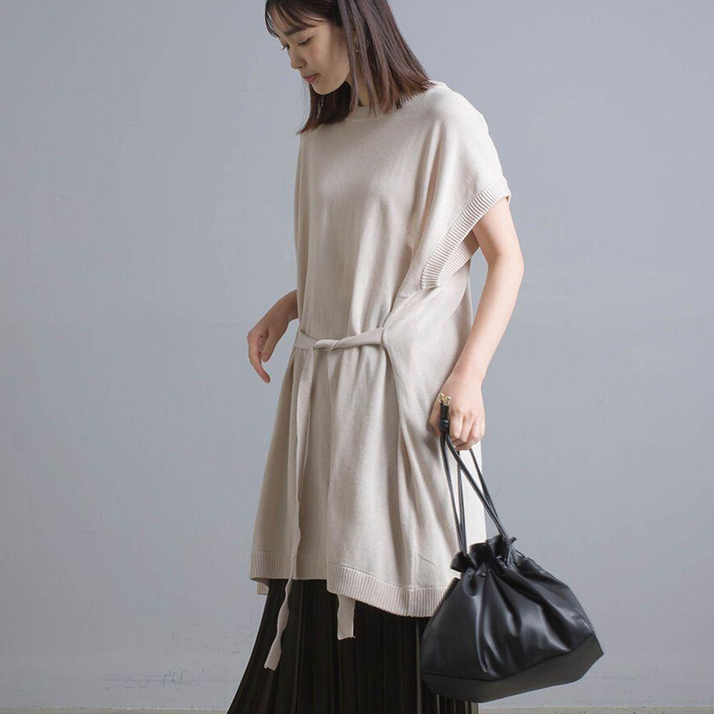 日本女裝代購 - 強撚紗12G 純棉針織綁帶後開衩短袖長版上衣-杏
