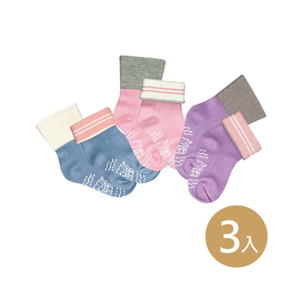 貝柔 Peilou - 貝寶萊卡義式對目柔棉止滑寬口短襪-3色各1雙(紫/粉/藍)