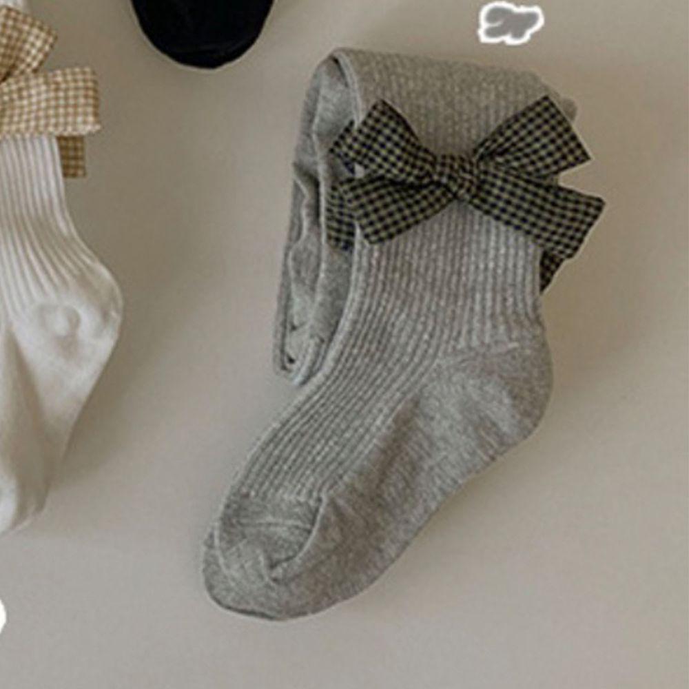 兒童蝴蝶結褲襪-淺灰