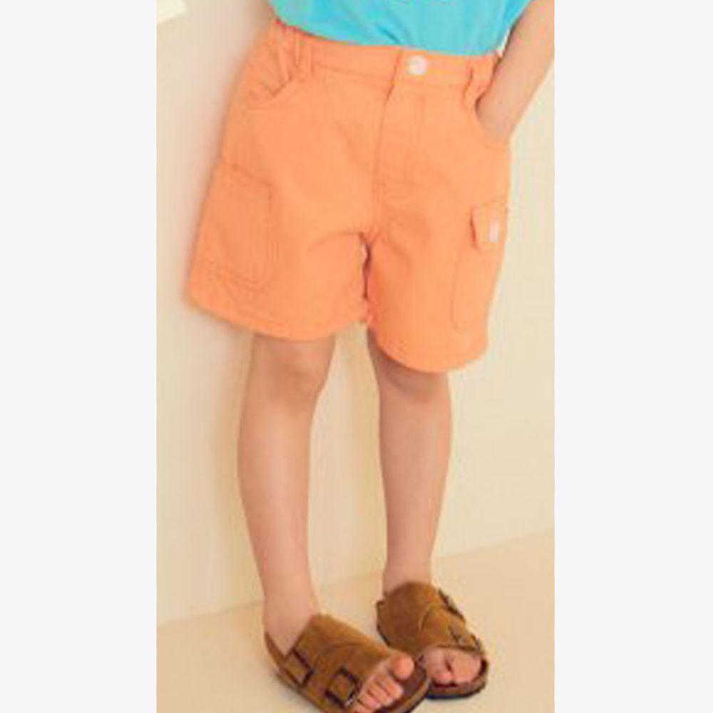 韓國 Hanab - 四口袋純棉5分褲-粉橘