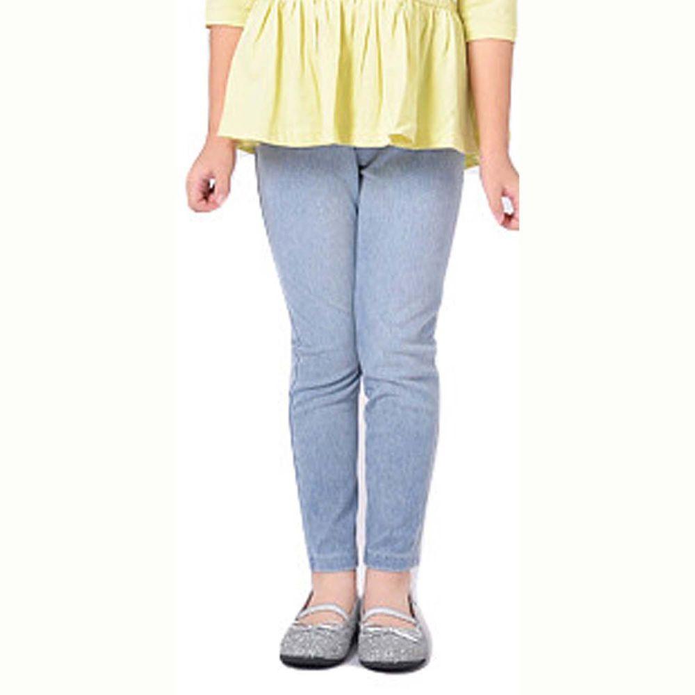日本 TORIDORY - 百搭舒適內搭褲-丹寧水洗-水藍