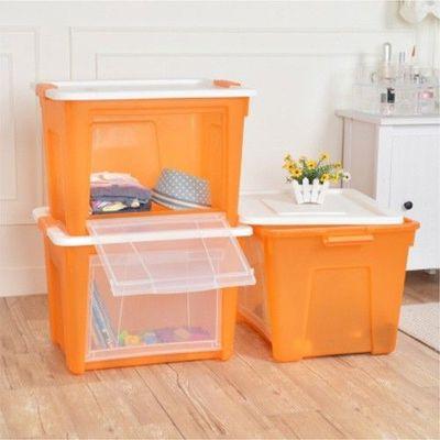 艾森層疊前開兩用收納箱 3入-橘透-65公升/3入