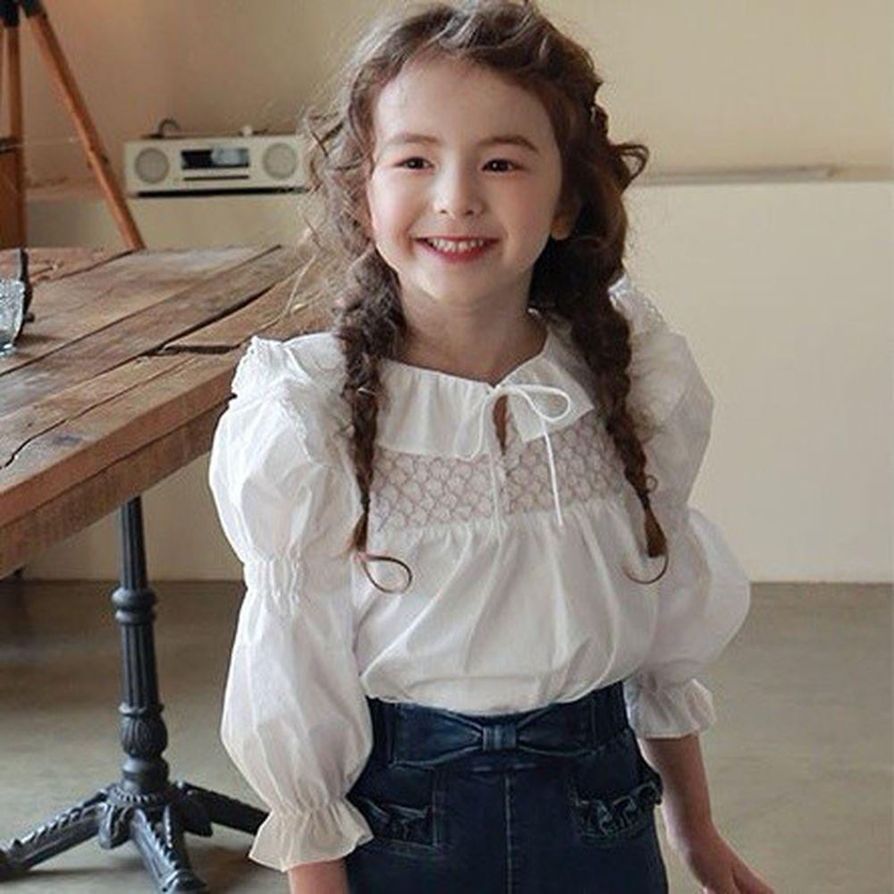 韓國 PuellaFLO - 抓皺荷葉泡泡袖上衣(無蝴蝶結,改鈕釦)-象牙白