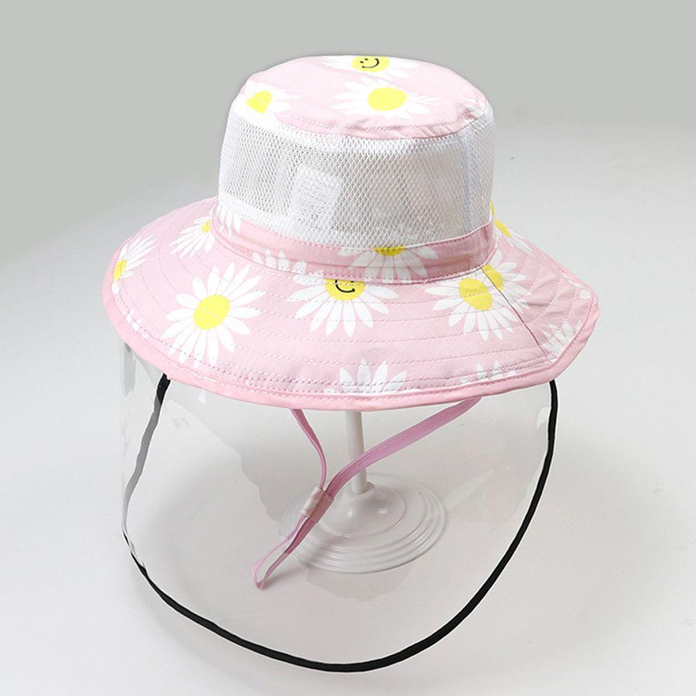 透氣網眼防飛沫大帽沿遮陽帽-微笑雛菊