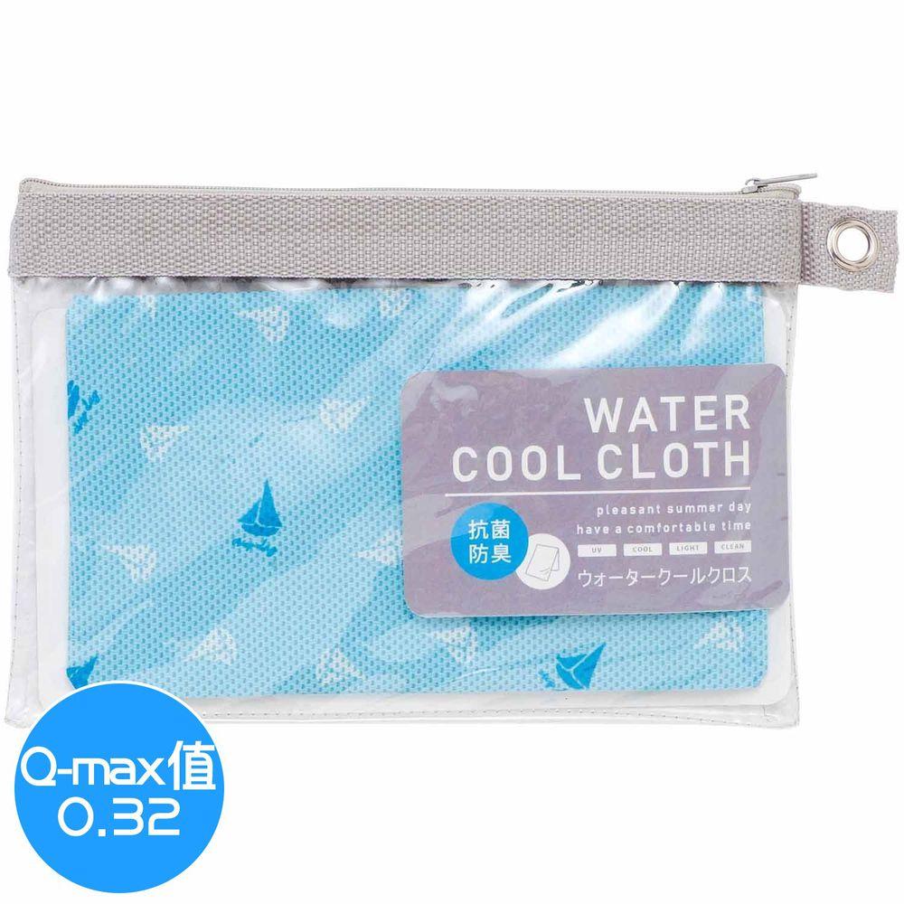 日本小泉 - UV cut 90% 水涼感巾(附收納袋)-悠遊帆船-水藍 (30x90cm)