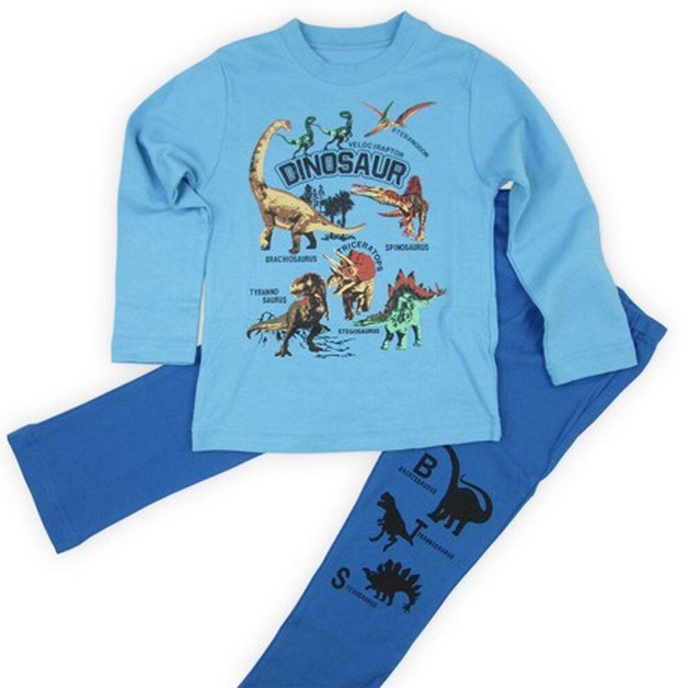 日本服飾代購 - 純棉印花長袖家居服-恐龍帝國-水藍X藍