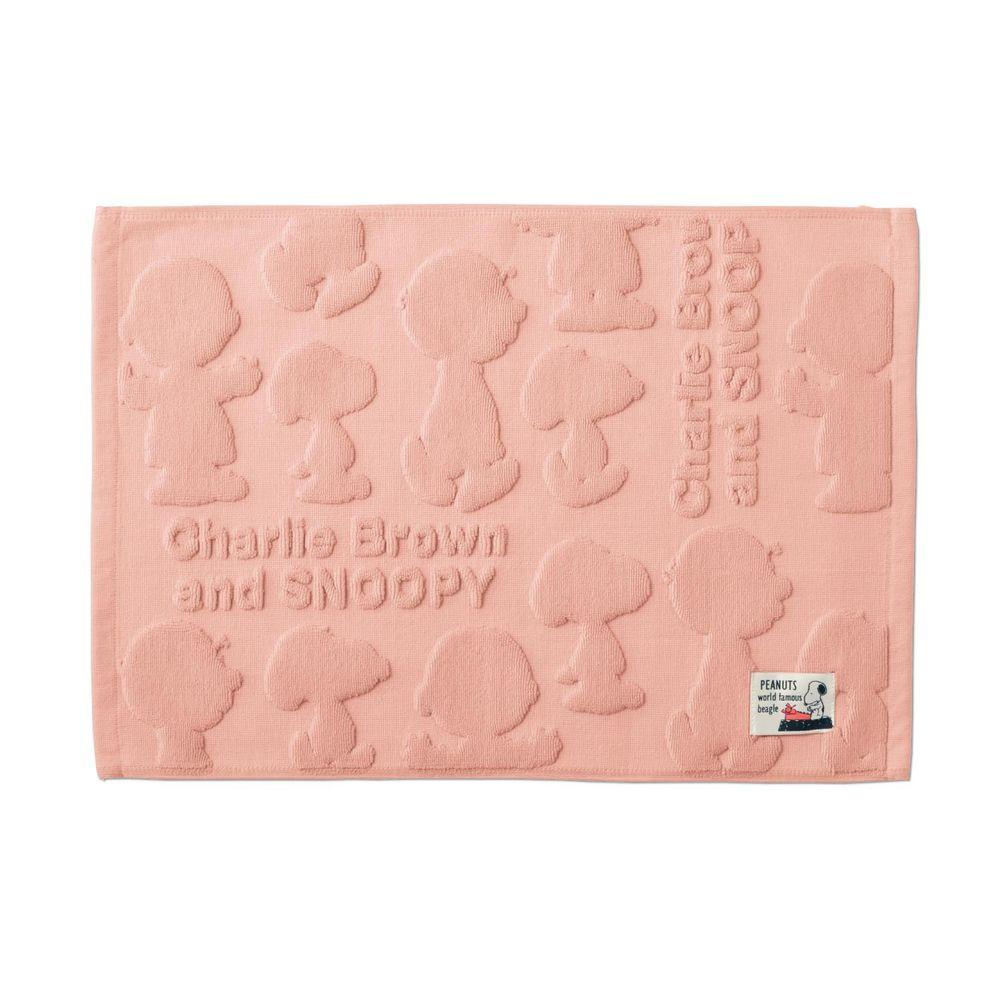日本千趣會 - 史努比 純棉吸水立體剪影毛巾腳踏墊-查理布朗與史努比-粉紅 (43x60cm)