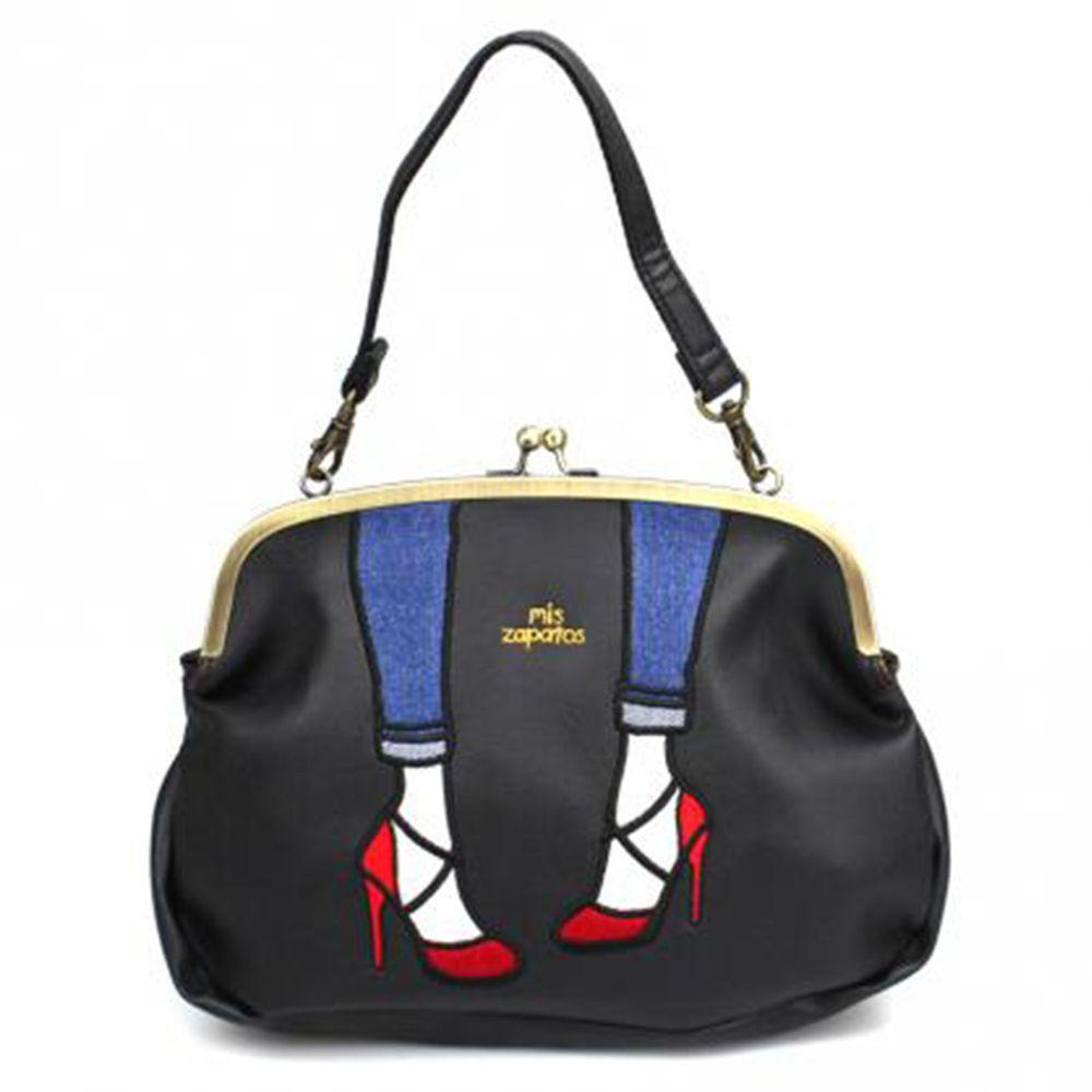 mis zapatos - 2way時尚高跟鞋口金包(皮革)-BK黑色 (19*28*8cm)