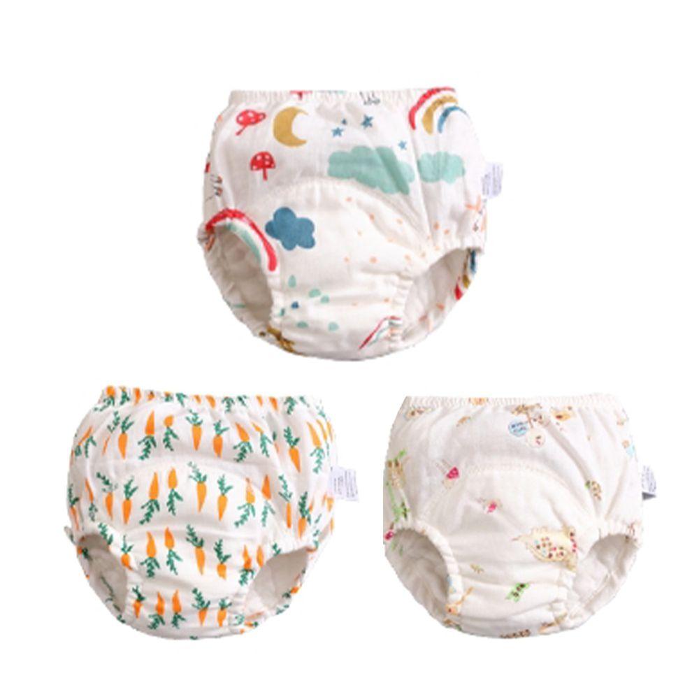 JoyNa - 輕薄透氣吸水棉質5層學習褲-3件入-雲朵彩虹+隨機2件