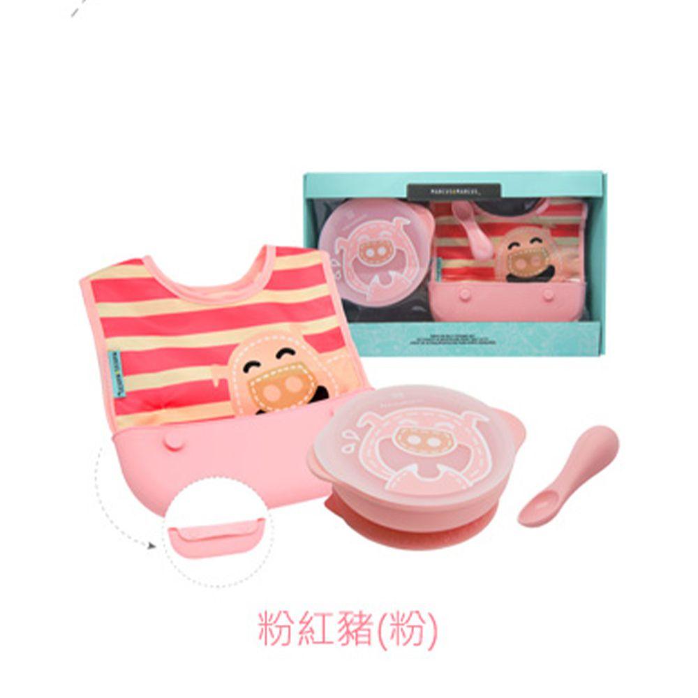 MARCUS&MARCUS - 動物樂園自主用餐學習禮盒組-粉紅豬