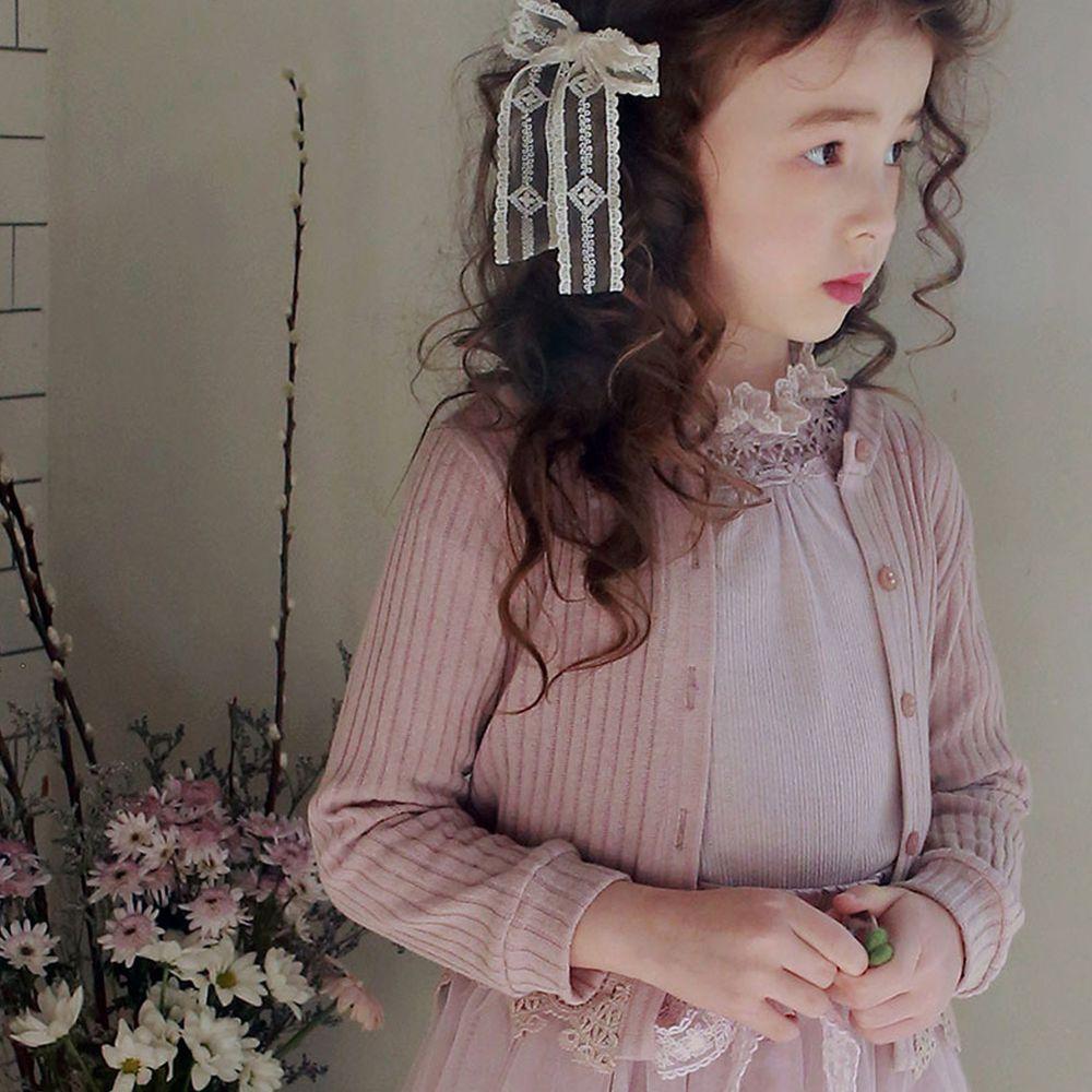 韓國 PuellaFLO - 雕花下擺羅紋針織小外套-藕粉