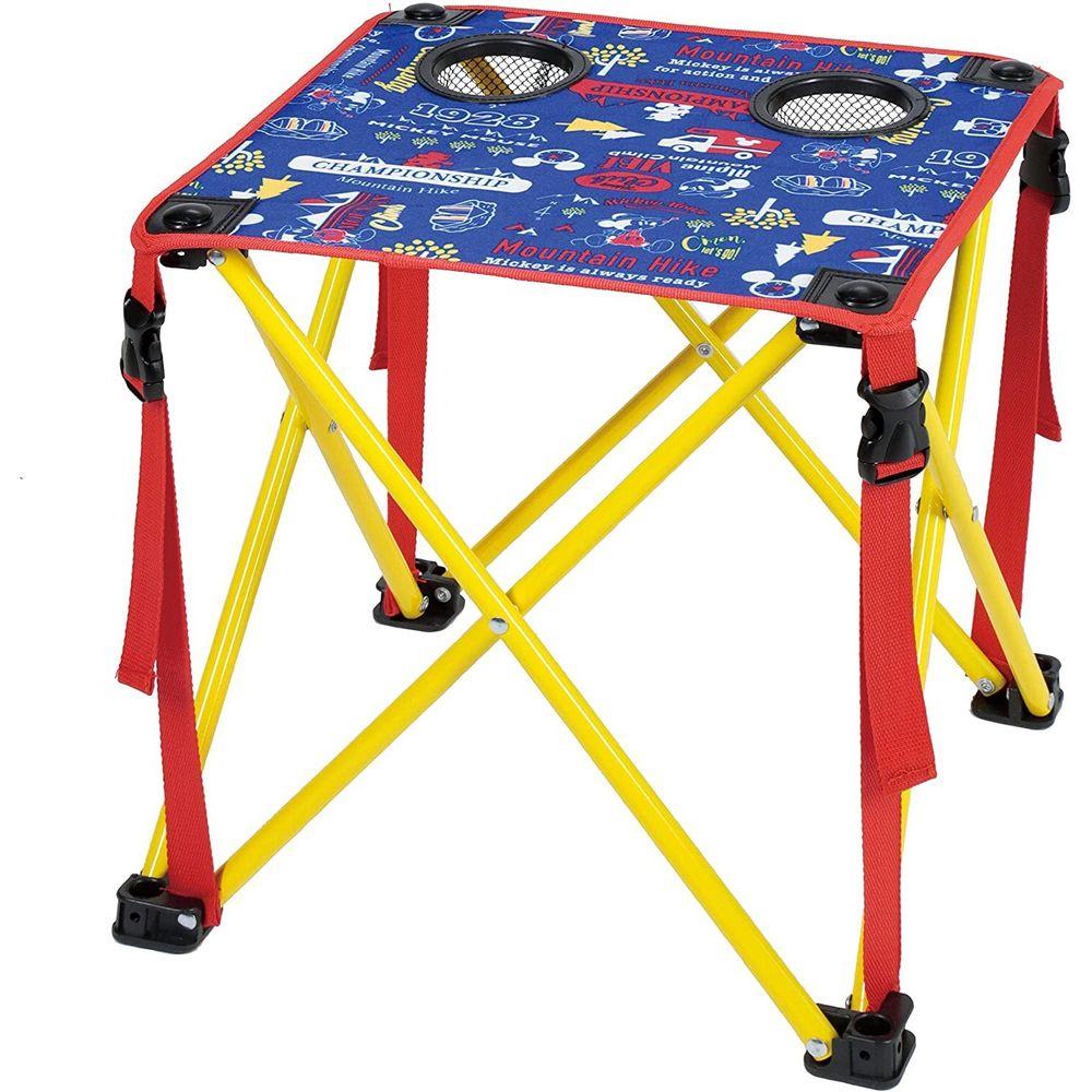 日本 Pearl 金屬 - 迪士尼 輕巧摺疊小桌(杯架*2)-米奇-藍X紅