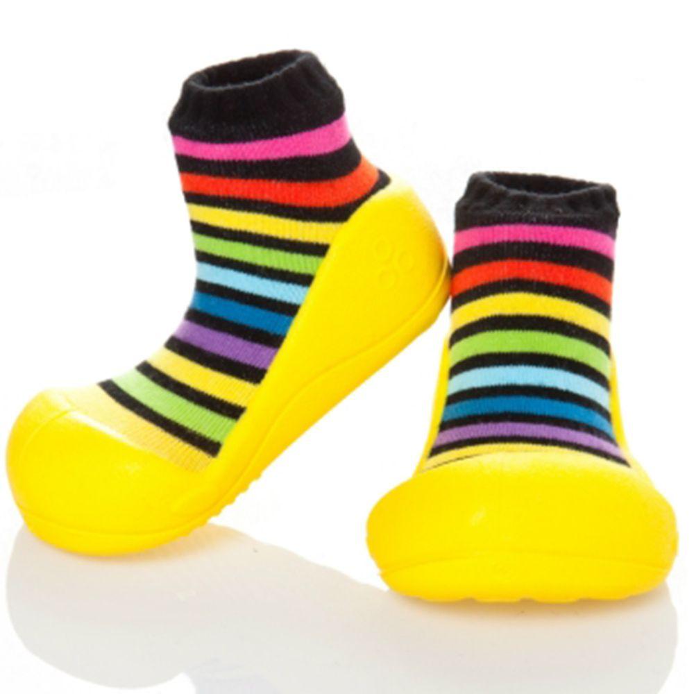 韓國 Attipas - 襪型學步鞋-彩紅黃底
