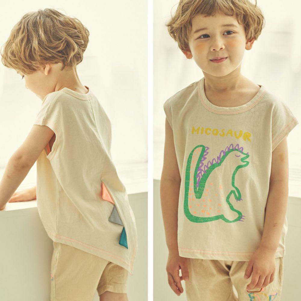 韓國 Mimico - 綠線條恐龍造型純棉T-象牙白