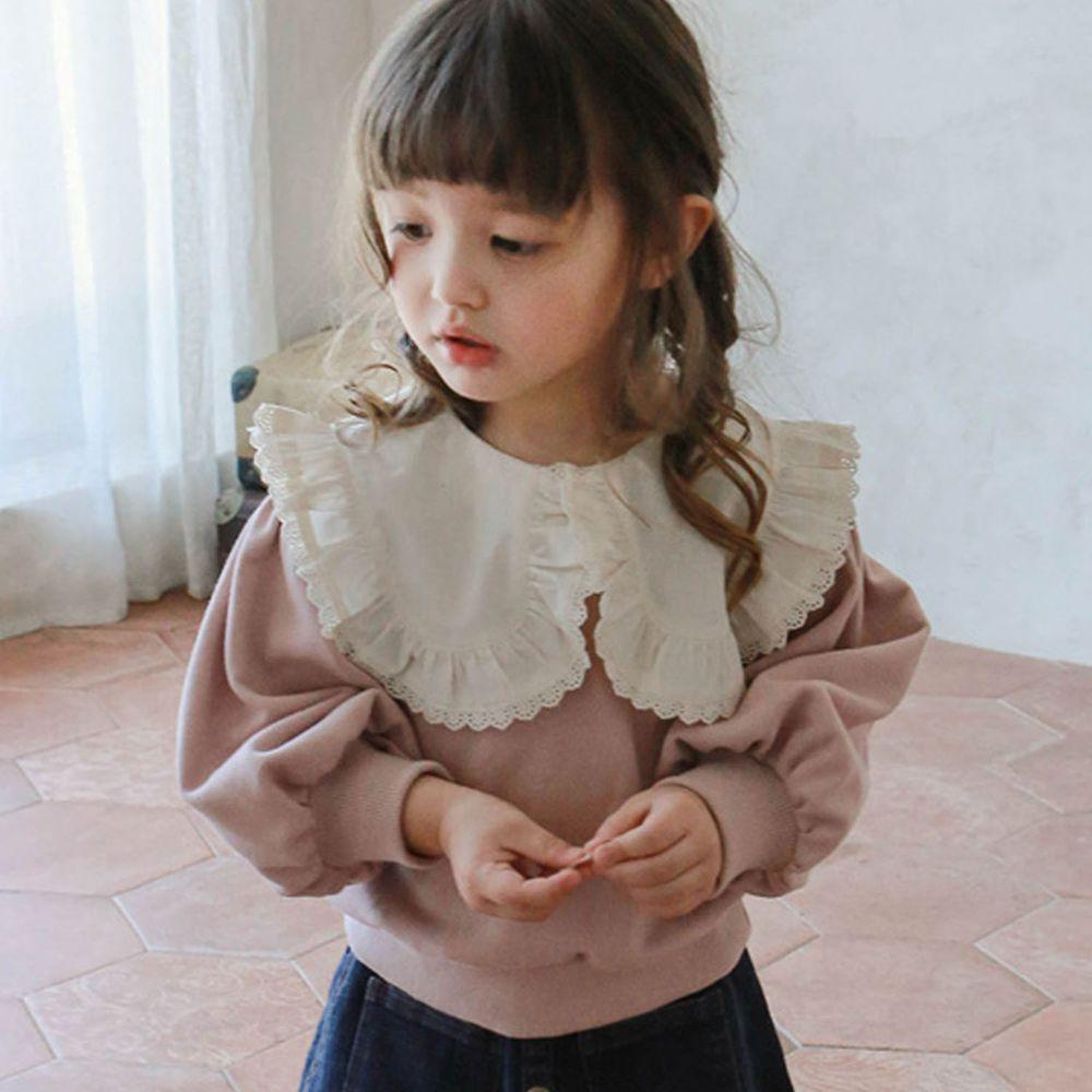 韓國 Puellaflo - 蕾絲滾邊大白領泡泡袖T-淡粉紅