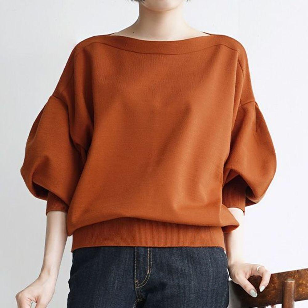 日本 zootie - 澎袖剪裁廣口針織上衣-橘棕