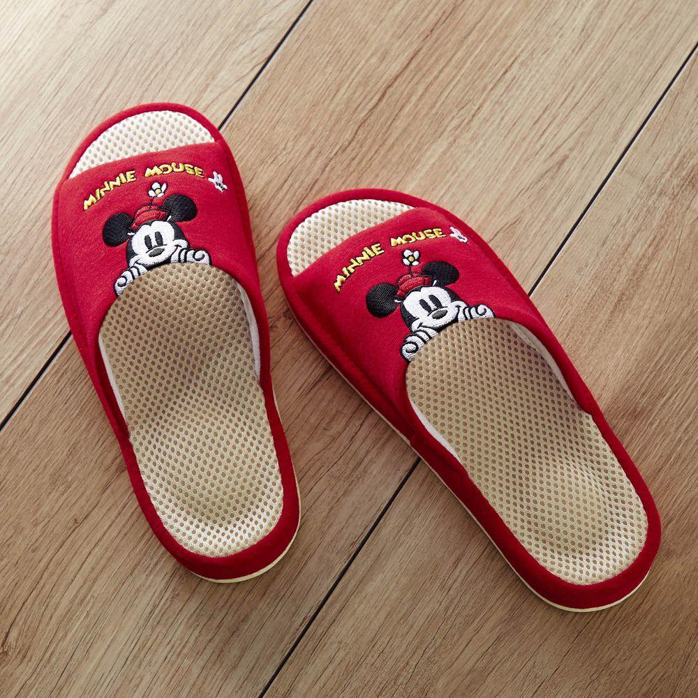 日本千趣會 - 迪士尼刺繡透氣鞋墊室內拖-米妮探頭-紅