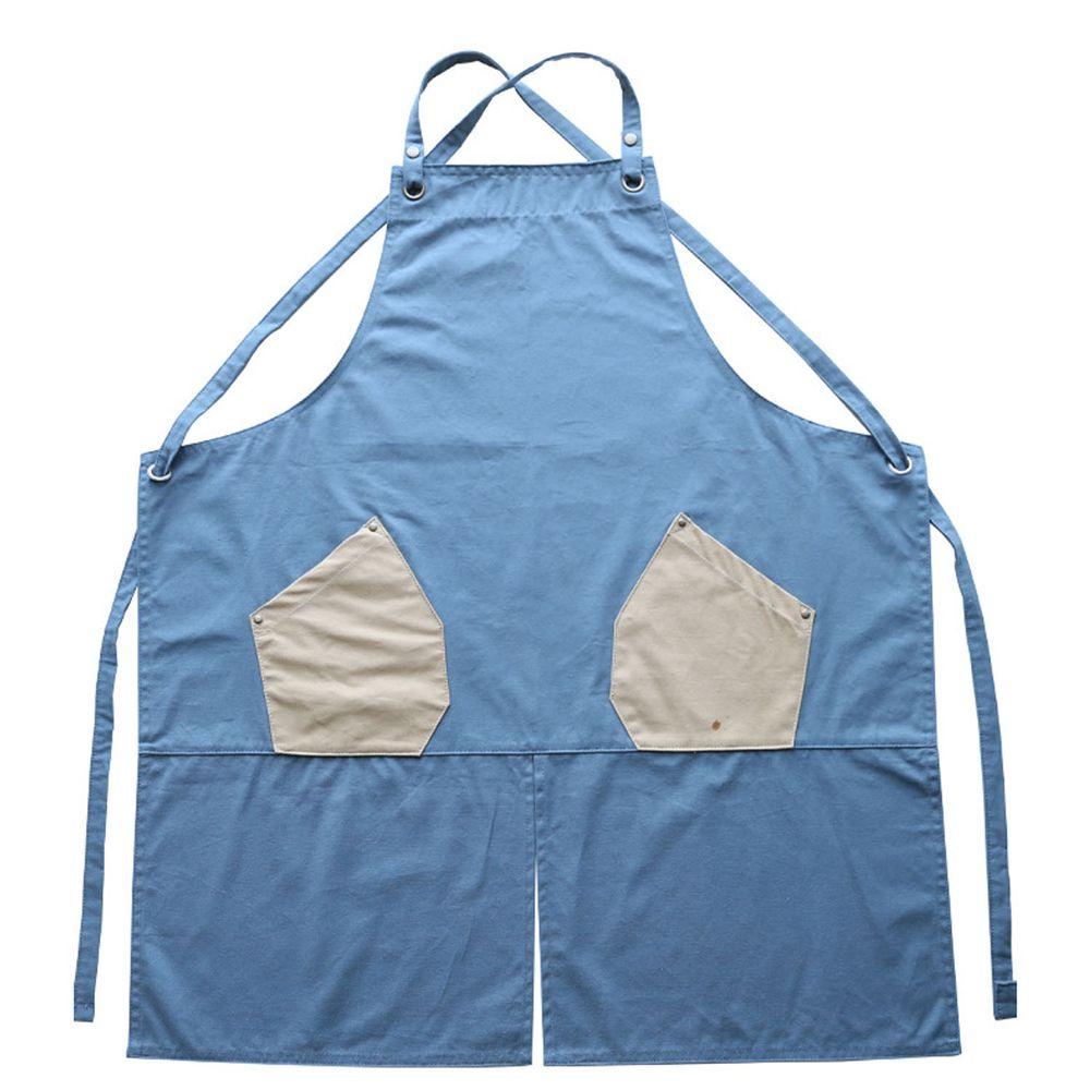 工業風撞色口袋圍裙-防水款-藍色