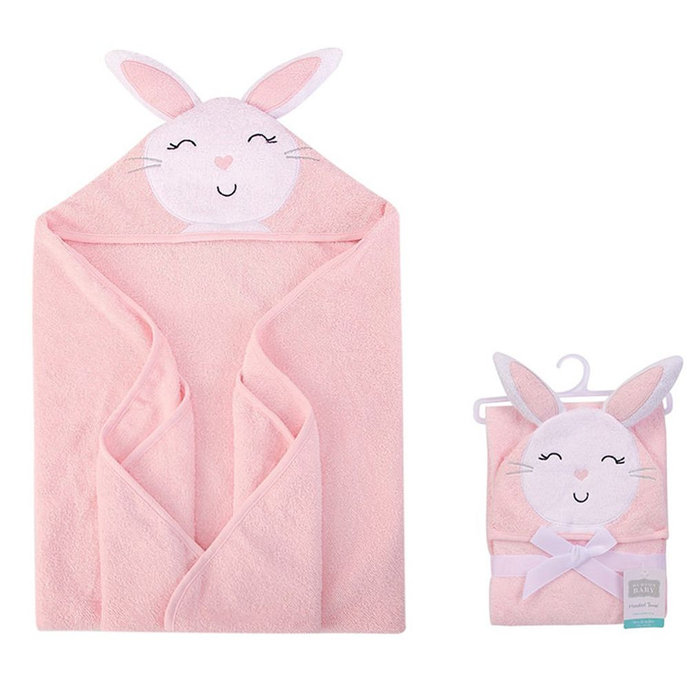 美國 Luvable Friends - 100% 純棉嬰幼兒動物造型連帽浴巾/包巾-小粉兔