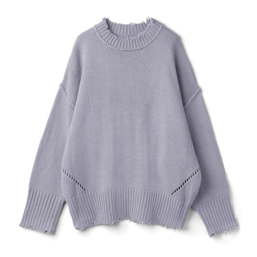 日本 GRL - 寬鬆修身線條微抓破邊衣領針織毛衣-薰衣草