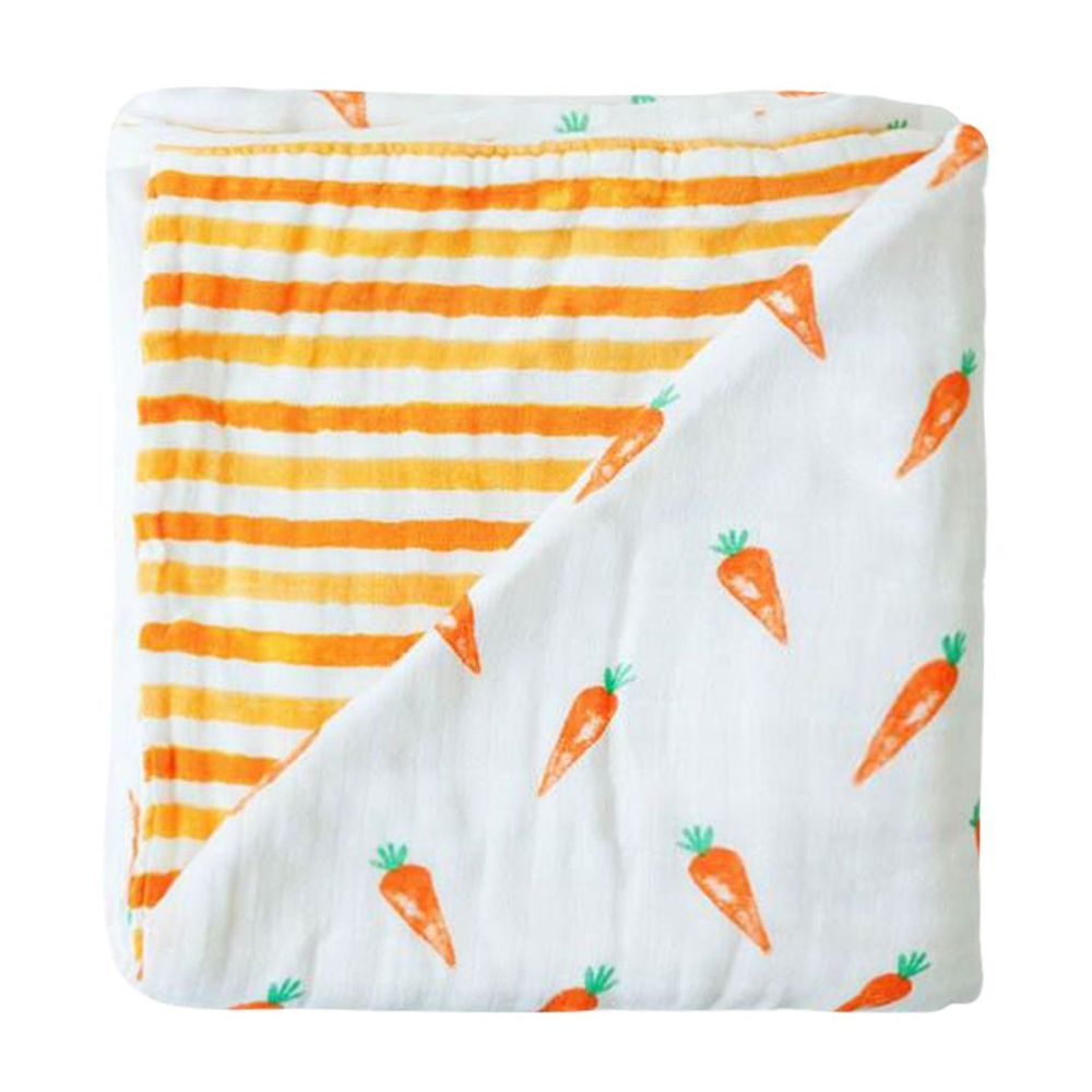 美國 Malabar baby - 有機棉被毯(四層紗)-香甜紅蘿蔔 (120*120cm)