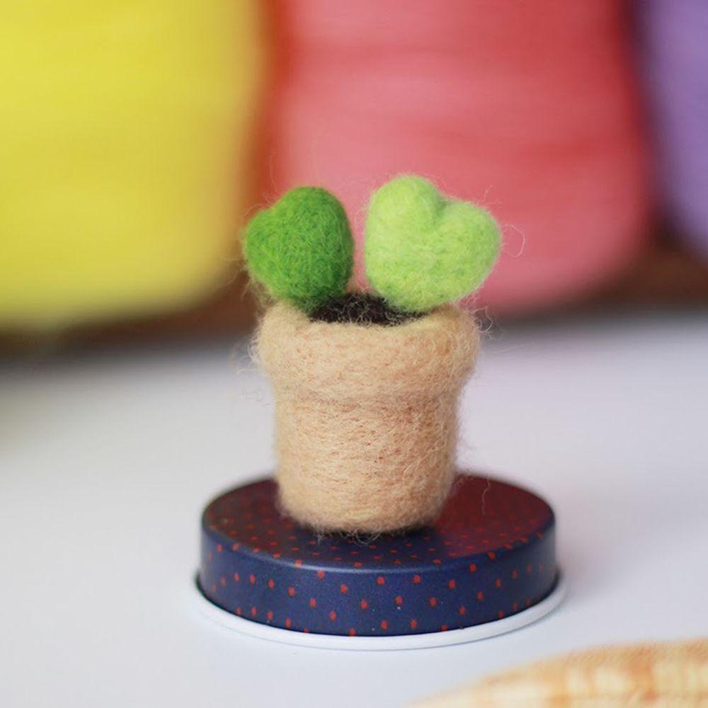 Diy植物造型羊毛氈戳戳樂材料包-愛心造型仙人掌