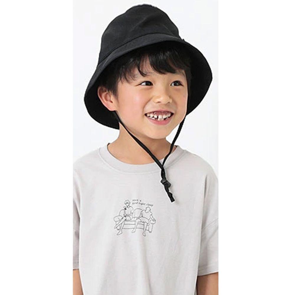 日本 devirock - 抗UV防曬兒童遮陽帽(附帽帶)-黑