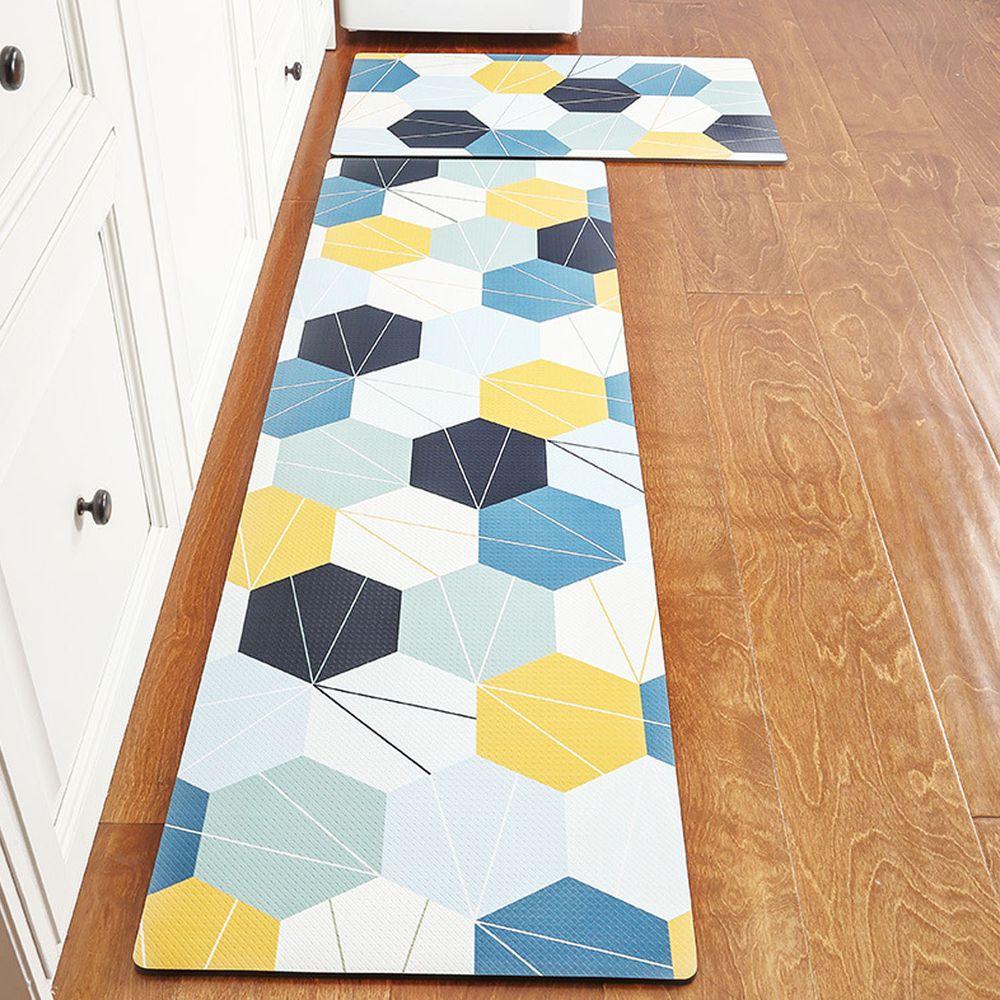 廚房仿皮革PVC防水腳踏墊-線條六邊形