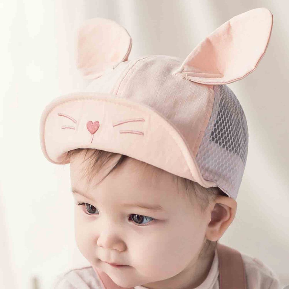 韓國 Happy Prince - 愛心鬍子大耳朵透氣棒球帽-粉紅